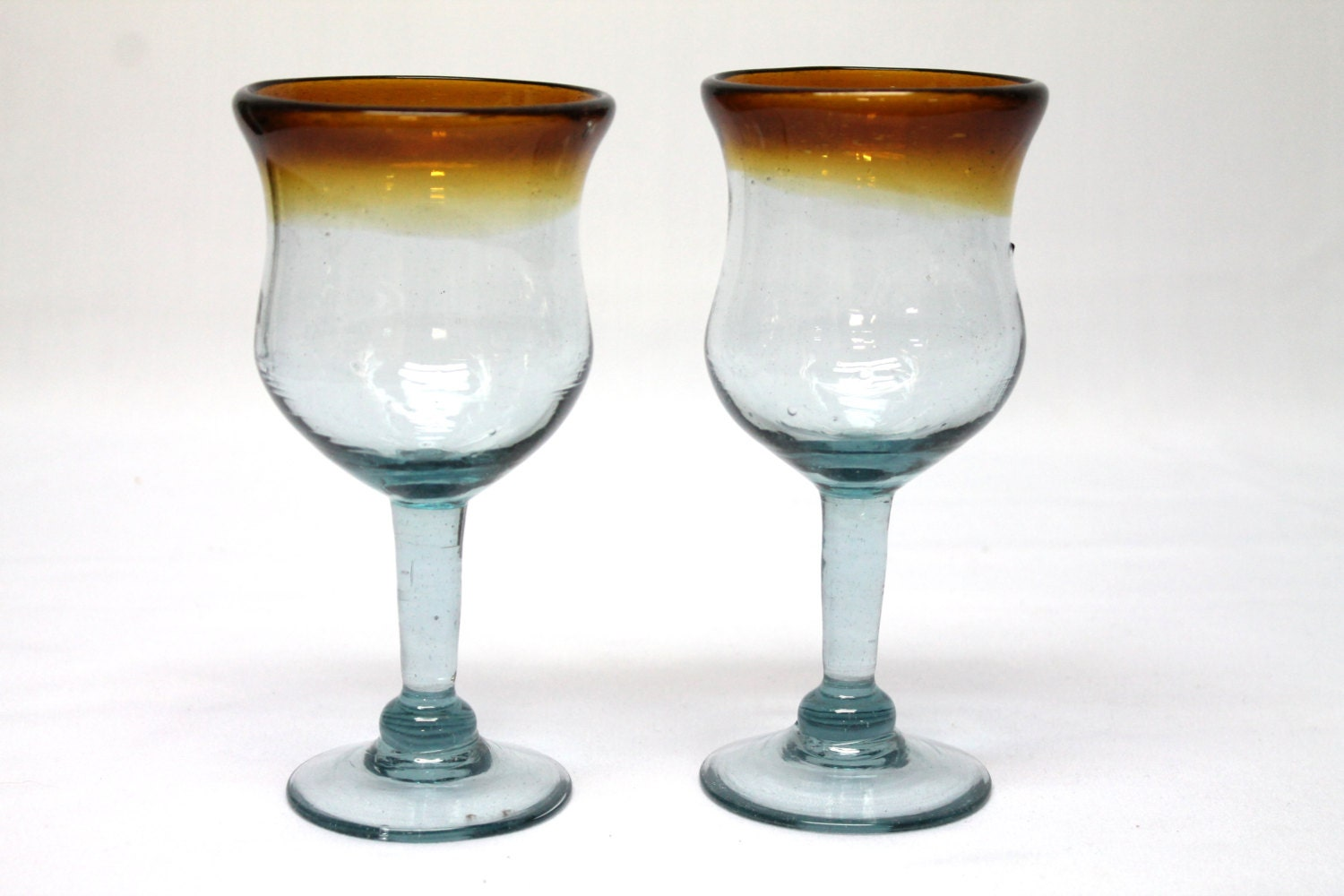 2 hand blown mexican wine glass goblets brown rim blue glass - Hand blown champagne flutes ...