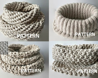4 PDF Patterns Knit Infinity Scarf Pattern Eternity Scarf Knitting Pattern Knitting Scarves Pattern Crochet Infinity Scarf Pattern