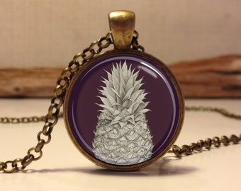 PINEAPPLE tropical necklace . pineapple pendant jewelry . Tropical jewelry art (Pineapple #2)