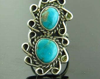 Remarkable Vintage Native American Navajo Turquoise Ring in Sterling Silver