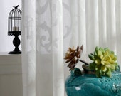 """A Pair of White Cotton Blend Sheer Curtains Made to Order Upto 104""""L."""