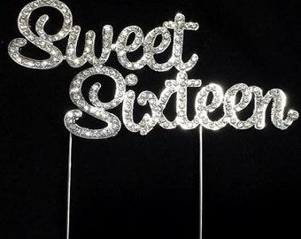 "Silver ""Sweet Sixteen"" Rhinestone Cake Topper"