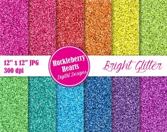 80% OFF SALE Bright Glitter Digital Paper, Digital Scrapbook Paper, Background