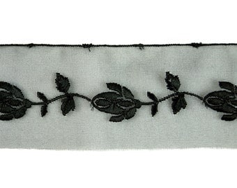 15yds Black Floral Embroidery Organza Lace Trim