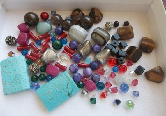 Mixed Lot of Gemstones, Semi-Precious Stones, Swarovski Crystals, Czech Crystals and more.