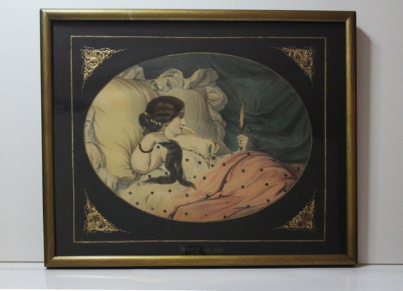 1850 Druck u. Verlag Hand Colored Embellished Litho Ah Que Je Suis Jolie