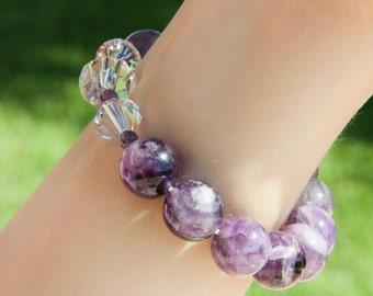 Amethyst Gemstone Stretch Bracelet With Genuine Swarovski Focal Poins.