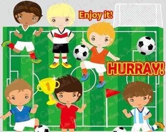 Football Party clipart 2 , Football Digital Clipart/ Soccer clip art /sport boy clip art/ (CG038)/ INSTANT DOWNLOAD