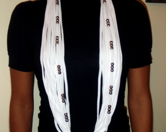 White cotton knit infinity scarf with silver tone beads