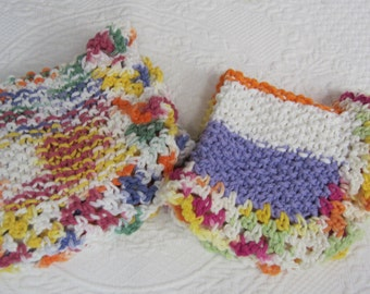 Knit Dishcloth/Washcloth/Dish Rag/Wash Rag Set of two Made with 100% Cotton Yarn in Multi Color's Ready to ship