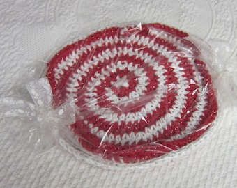 Crochet Dishcloth/Washcloth Swirl 100% Cotton Red and White Set of 2 Great for Holiday Season Ready to Ship!