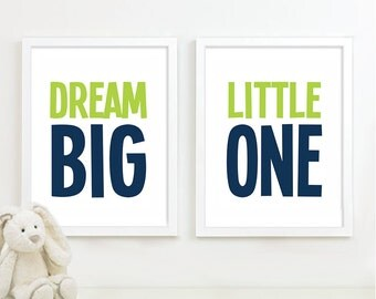 Baby Boy Nursery Art - Boy Nursery Decor Dream Big Little One Art Boy Bedroom Art Boy Bedroom Decor - Lime Green & Navy Blue - (NS-575)