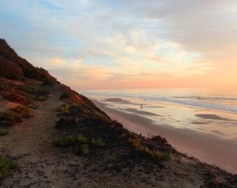 Cliff and Sea, Sunset, South Ponto Beach, Carlsbad, California