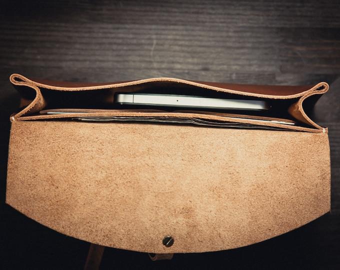 Horween leather clutch/Minimal Leather Clutch/Evening Bag/Brown leather clutch/Classic leather clutch/HandBag