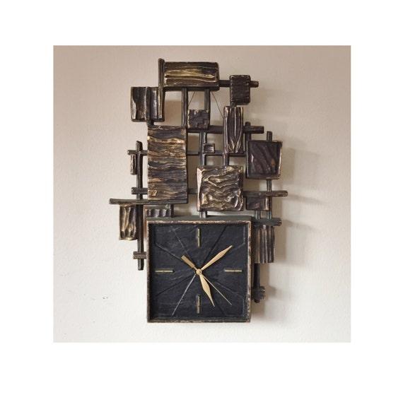 mid century modern brutalist wall clock black by 20cmodern