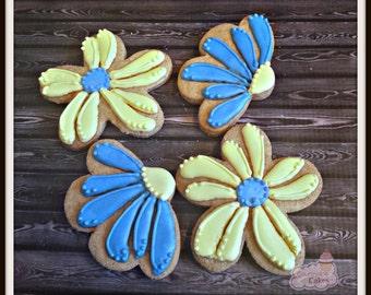 """Flower Daisy Decorated sugar cookies 3"""" -1 dozen"""