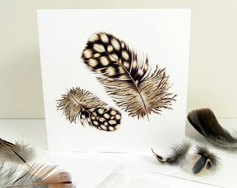 Feather Card, Quail Feathers Luxury Greeting Card