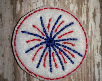 Set of 4 Fireworks Patriotic 4th of July Memorial Veterans Military Army Navy Marines Air Force Sign Feltie Felt Embellishment Bow!