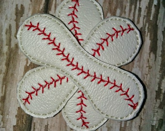 Set of 2 Baseball Flowers Vinyl Feltie Felt Embellishment Bow! Felties Applique Party