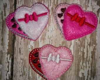 Set of 4 Pink Red Box of Candy Chocolates Glitter Valentines Valentine Valentine's Day Feltie Felt Embellishment Bow! Birthday Party