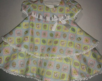 Baby Infant Toddler Girls Easter Eggs Flowers Lillies Lily Bunny Boutique Dress Outfit with Matching Bloomers Attached Petticoat Church