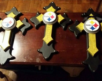 Pittsburgh steelers layered wood cross