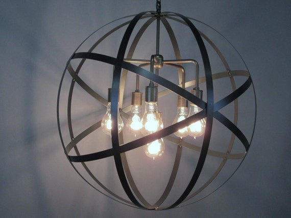 industrial orb chandelier ceiling light sphere 24 diameter wine