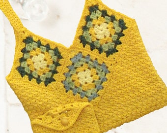Granny Square Bag with Matching Pouch / Crochet Bag / Yellow Granny Bag