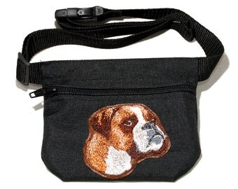Boxer dog treat bag / dog treat pouch. For dog shows, dog walking and training. Great gift for dog lovers.