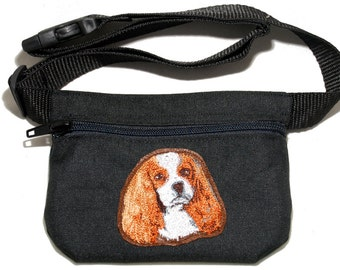 Cavalier King Charles Spaniel embroidered dog treat bag / treat pouch. For dog shows, walking and training. Great gift for breed lovers.