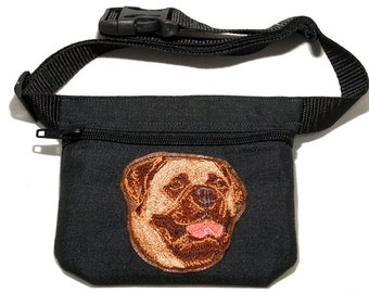 Embroidered dog treat waist bag. Breed - Bullmastiff. For dog shows and training. Great gift for breed lovers.