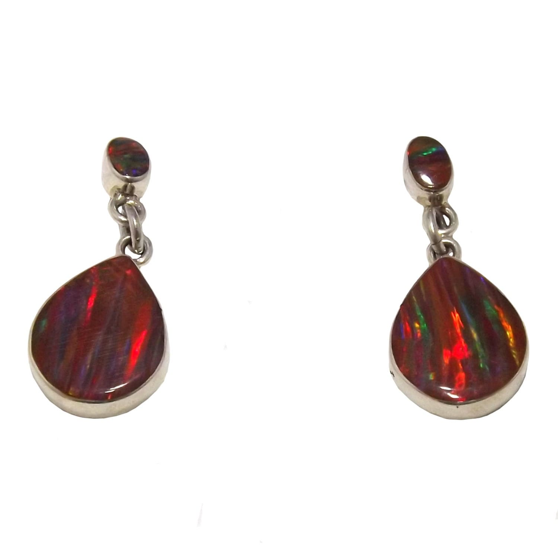 Red Mexican Fire Opal Double Drop Stud Earrings Dimension 25