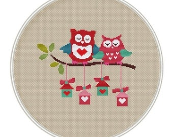 Owls Cross stitch pattern, Counted cross stitch pattern, Instant Download, cross stitch PDF, cross stitch bird house, MCS030