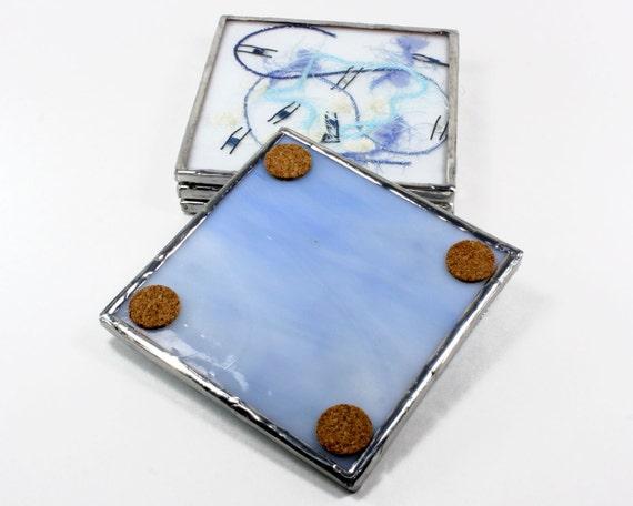 Keuken coasters blauw glas onderzetter set door balsamrootglass