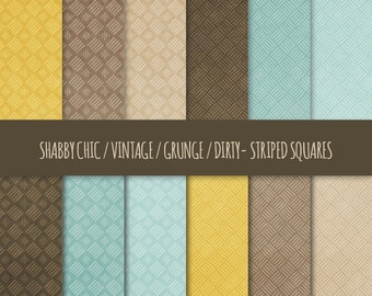 Vintage Grunge Digital Paper: Striped Squares Patterns ~ Shabby Chic, Dirty, Distressed Printable Backgrounds ~ Mustard Yellow, Brown, Blue