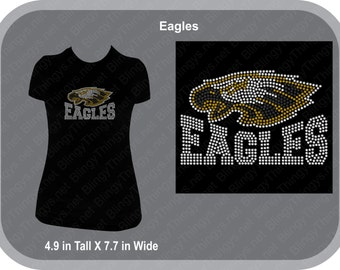 The Eagles - Eagles - Mascot School Spirit Wear - Rhinestone T Shirt with Team Colors
