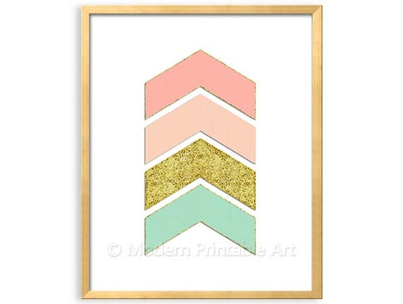 Pink geometric wall art printable pink seafoam gold printable for Peach and gold bedroom