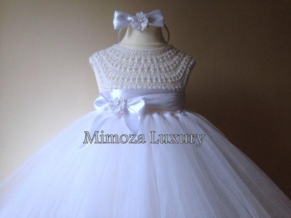 Baptism tutu dress, Christening tutu dress, White Flower girl dress, tutu dress, bridesmaid dress, princess dress, crochet top tulle dress