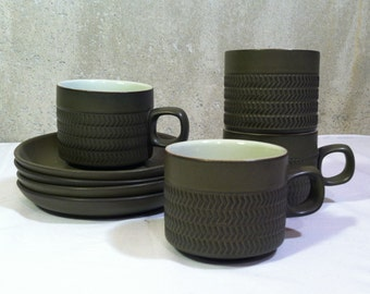 Four Denby Chevron Coffee Cups and Saucers Designed by Gill Pemberton
