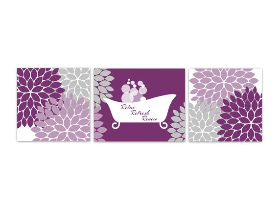 bathroom wall art purple and grey bathroom by wallartboutique, Home design