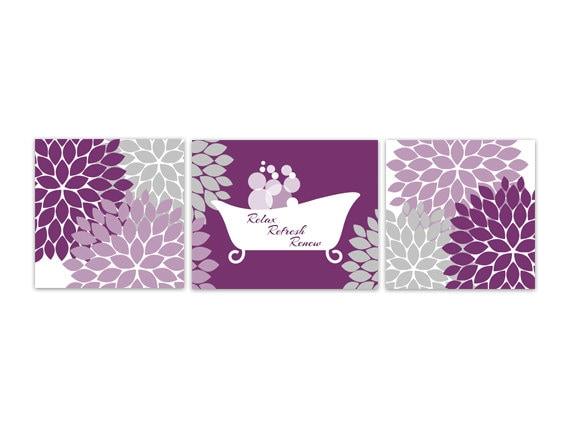 Bathroom wall art purple and grey bathroom by wallartboutique - Grey white and purple bathroom ...
