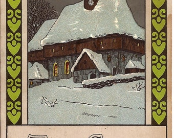 Vintage Christmas postcard, Dec. 25 1914, illustration of a church under the snow, Made in Germany