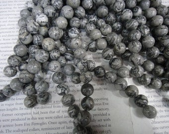 12mm grey picture jasper round beads, 15.5 inch
