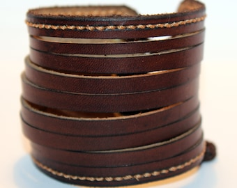 Brown Leather Cuff Bracelet! Nice gift for women! Made in Latvia! Unique item! Best gift! Handmade leather cuff! Best quality!