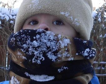 Child outdoor fleece neck warmer, scarf, gaiter, muffler, cowl, kids snood; youth fuzzy snow or winter gaiter