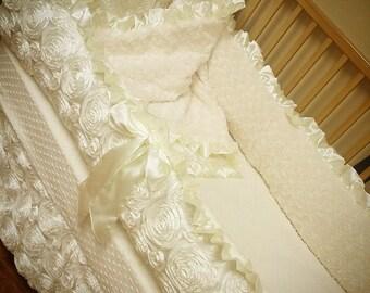 Ivory, Satin, Rosette Crib Set.