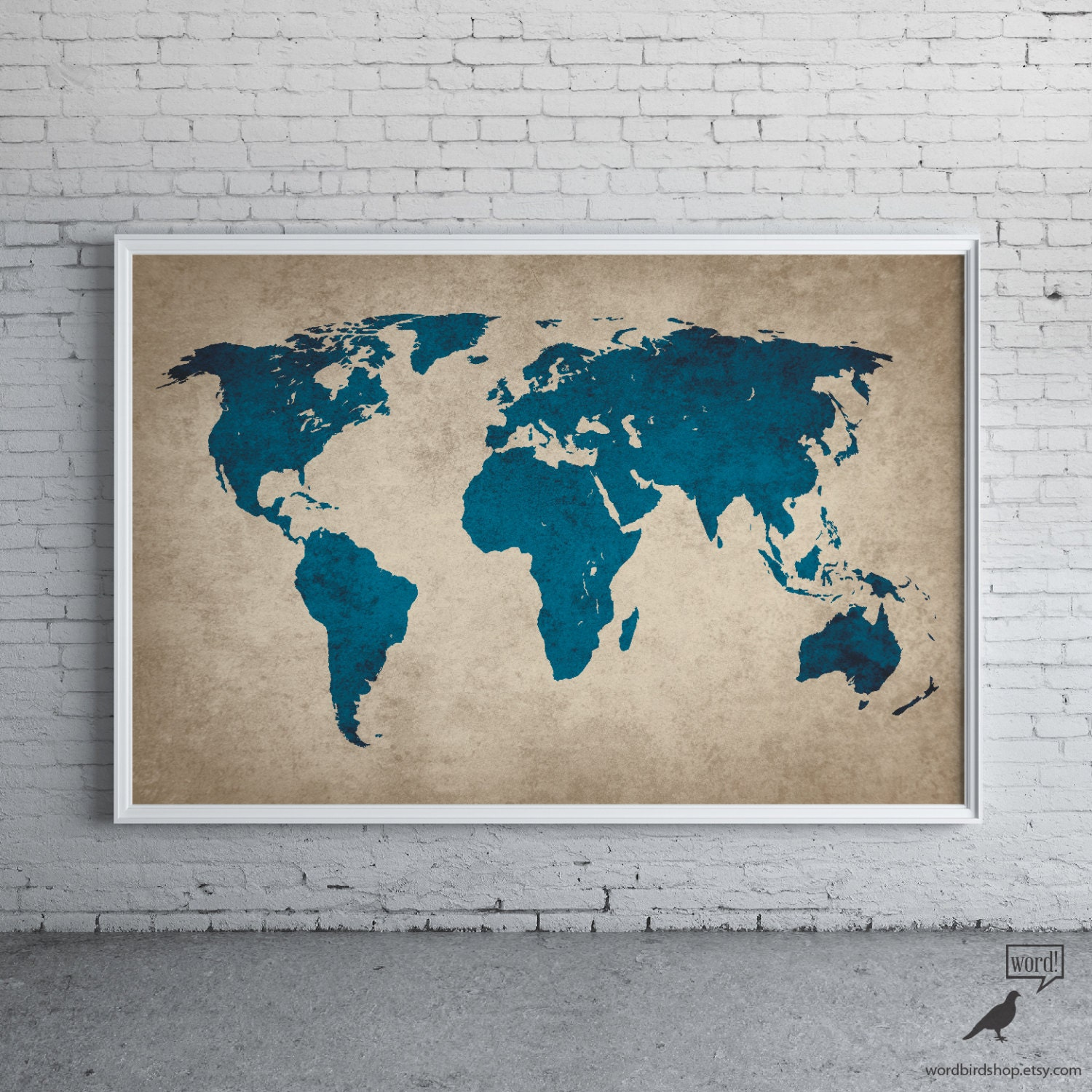Rustic navy blue world map old world map large world map - Carte du monde tableau ...