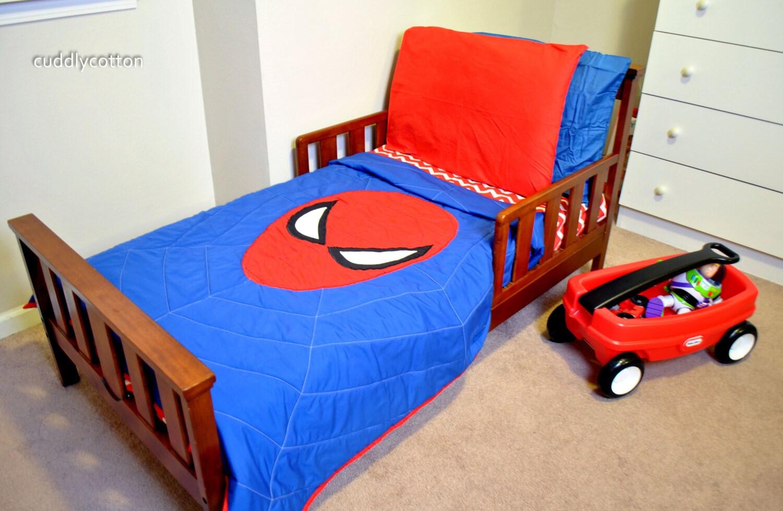 Spiderman Toddler Bedding by cuddlycotton on Etsy