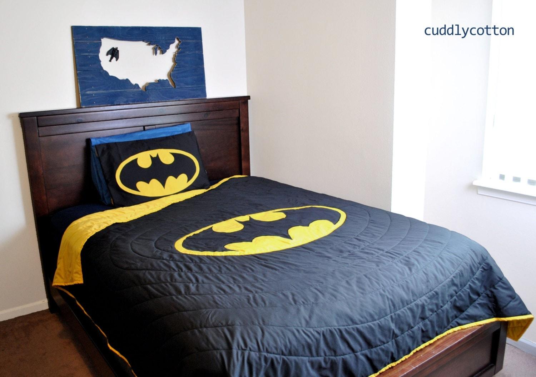 Batman Twin Bedding Black & Yellow Batman logo by cuddlycotton