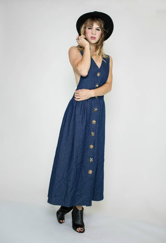 Vintage Denim 80s Maxi Dress Vintage by RedRoseVintageDotCom